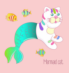 cute mermaid cat purrmaid with green tail vector image