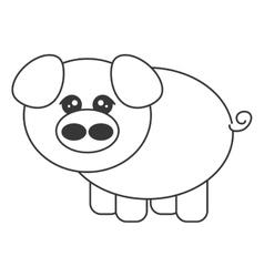 Cute pig cartoon icon vector