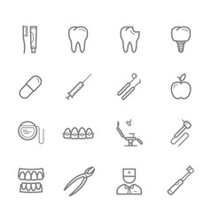 dentistry and dental medicine thin line icon vector image