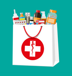 different pills and bottles in shopping bag vector image