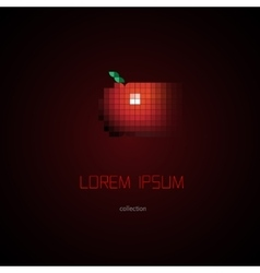 Digital pixel style apple logo element vector