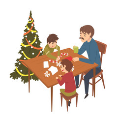father and his two sons sitting at table and vector image