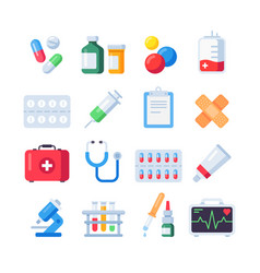 Flat pill icons medication dose of drug for vector