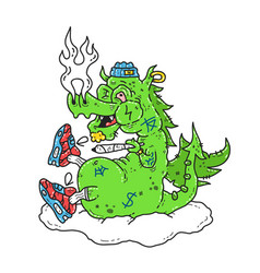 Funny stoned dope dragon smoke vector