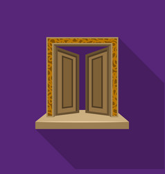 Gates to valhalla icon in flate style isolated on vector
