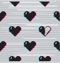 glitch hearts pattern vector image