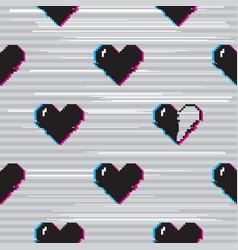 Glitch hearts pattern vector
