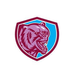 Grizzly Bear Angry Head Shield Retro vector