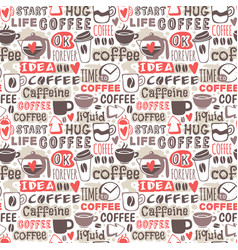 Hand drawn coffee badge seamless patterns vector