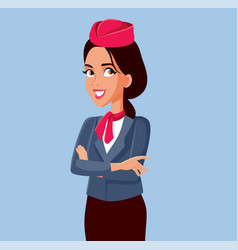 Happy stewardess standing with arms crossed vector