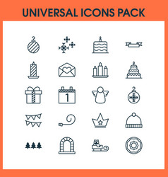holiday icons set with cake candle bunting vector image