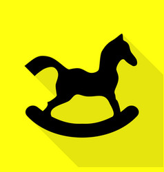 Horse toy sign black icon with flat style shadow vector