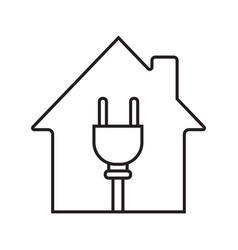 House with wire plug inside linear icon vector