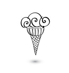 Ice cream icon on white background Doodle style vector