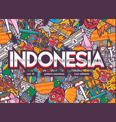 Indonesia pattern seamless with lettering vector