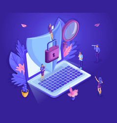 isometric small people working with a laptop vector image