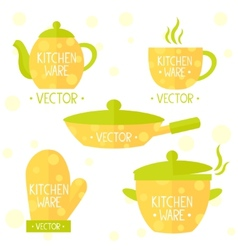 kitchenware flat set vector image