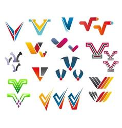 Letter v alphabet symbols vector