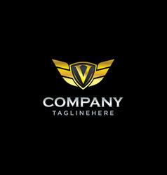 letter v shield with wings gold color logo design vector image