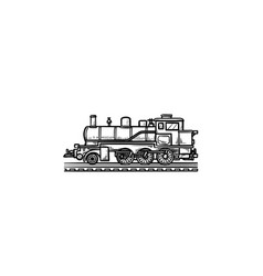 locomotive hand drawn outline doodle icon vector image
