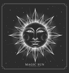magic witchcraft card with astrology sun sign vector image