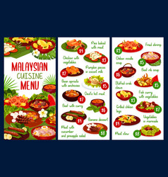 Malaysian cuisine restaurant menu vector