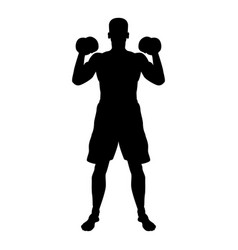 man doing exercises with dumbbells sport action vector image
