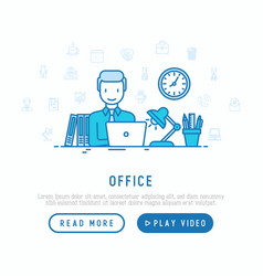 manager is working on laptop in office overtime vector image