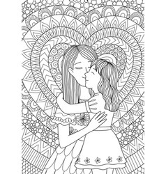mother kissing daughter vector image