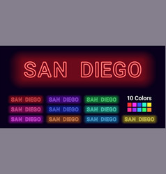 Neon name of san diego city vector