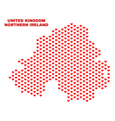 northern ireland map - mosaic of love hearts vector image
