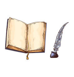 Old open book and feather in inkwell education vector