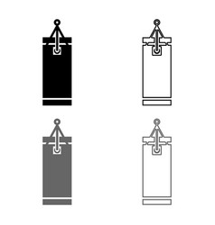 punching bag icon set grey black color outline vector image