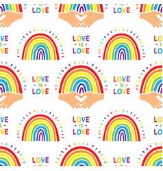 rainbow pattern cute hand drawn seamless vector image