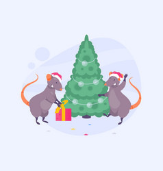 rats at christmas tree vector image