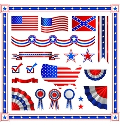 red and blue patriotic american badges labels vector image