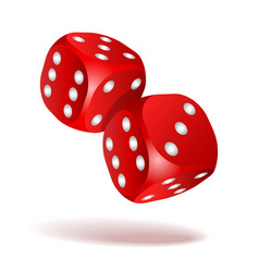red dice with white pips on the white background vector image
