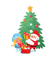 santa and snow-maiden taking out presents vector image