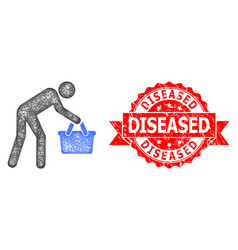 Scratched diseased stamp and network tired buyer vector