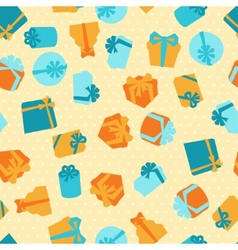 Seamless celebration pattern with colorful gift vector image