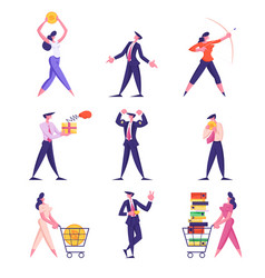 set businesspeople lifestyle male female vector image