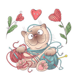 set for handmade cat with balls of yarn elements vector image