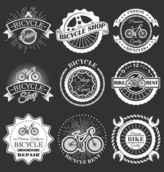 set retro bike shop repair labels badges vector image