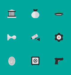 set simple offense icons vector image