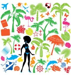 Set summer travel and vacations symbols vector