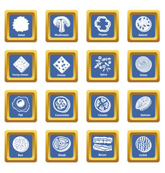 slice food icons set blue square vector image