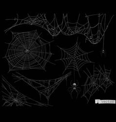 Spider web set elements vector