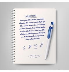 Spiral notebook and white ballpoint pen vector