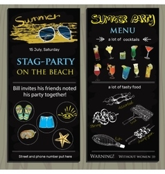 Stag-party invit on the beach Holiday vacation vector
