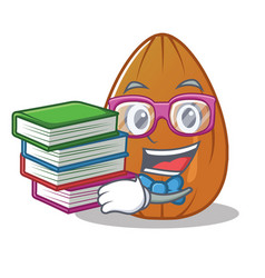 student with book almond nut character cartoon vector image